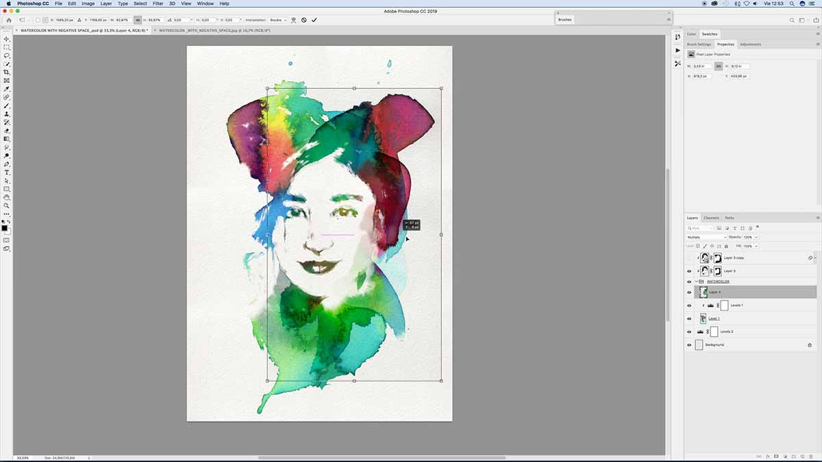 Free Photoshop Brushes of watercolor. Stain watercolor to integrate with high contast image