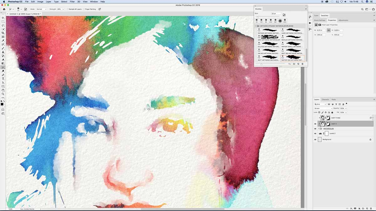 Free Photoshop Brushes of watercolor