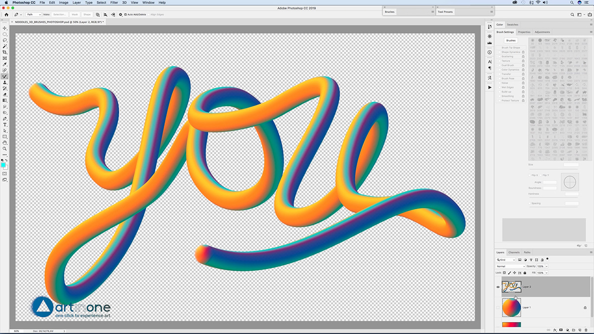 Applying the 3D Noodle to the Lettering with Adobe Photoshop Brushes