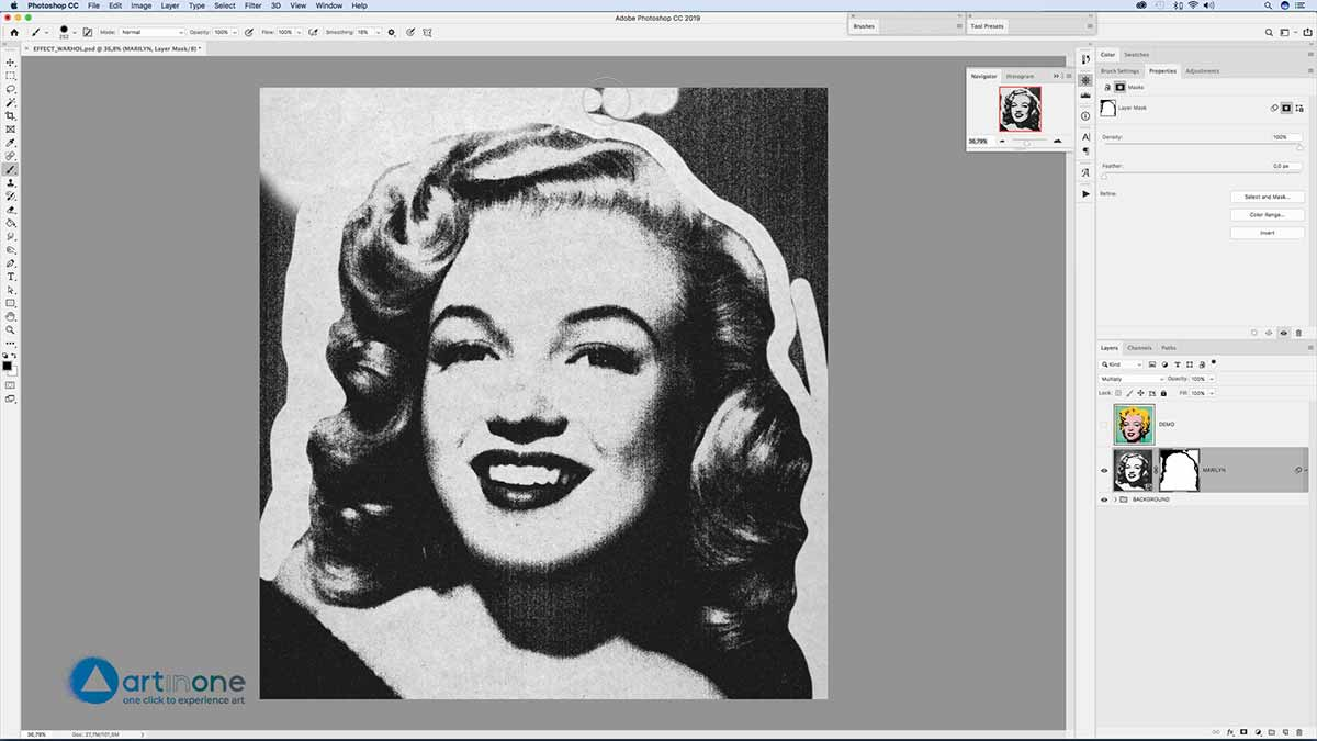 Cleanning the texture after applying filters to the Andy Warhol Photocopy Effect in Photoshop
