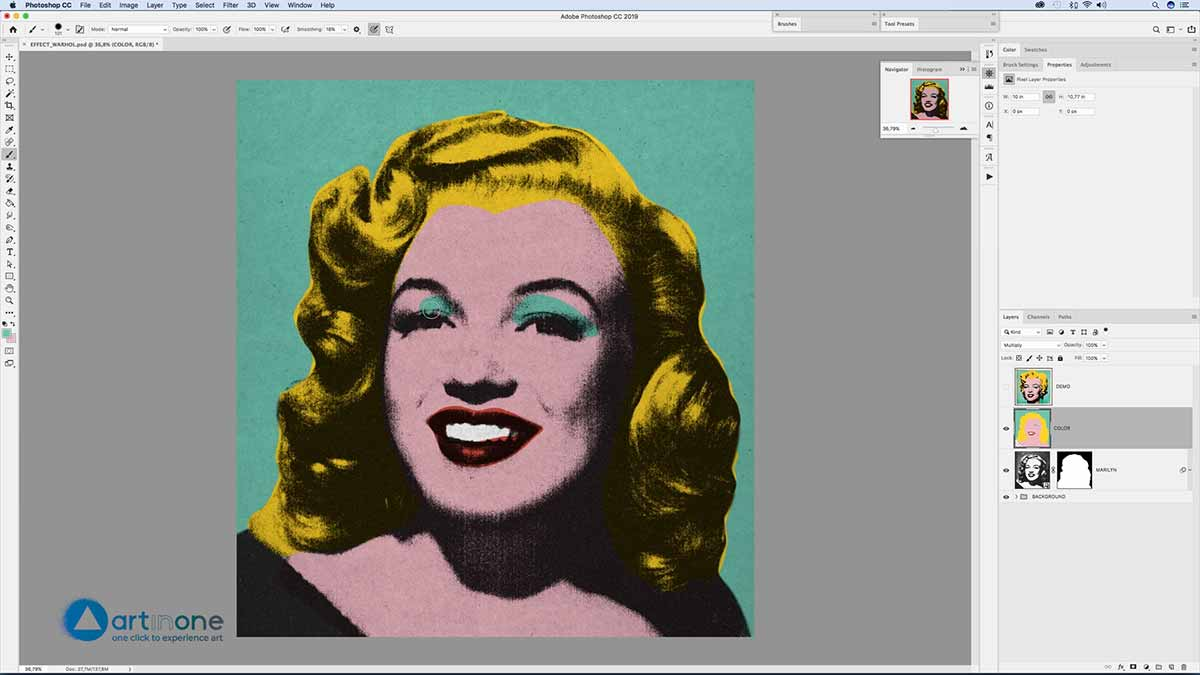 Painting to Marylin for the Andy Warhol Photocopy Effect in Photoshop