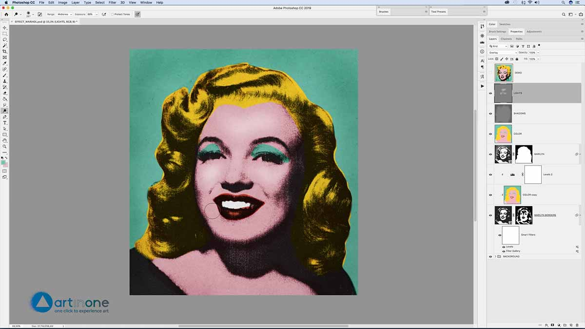 Applying Light and Shadow to Marylin for Andy Warhol's Photocopy Effect in Photoshop