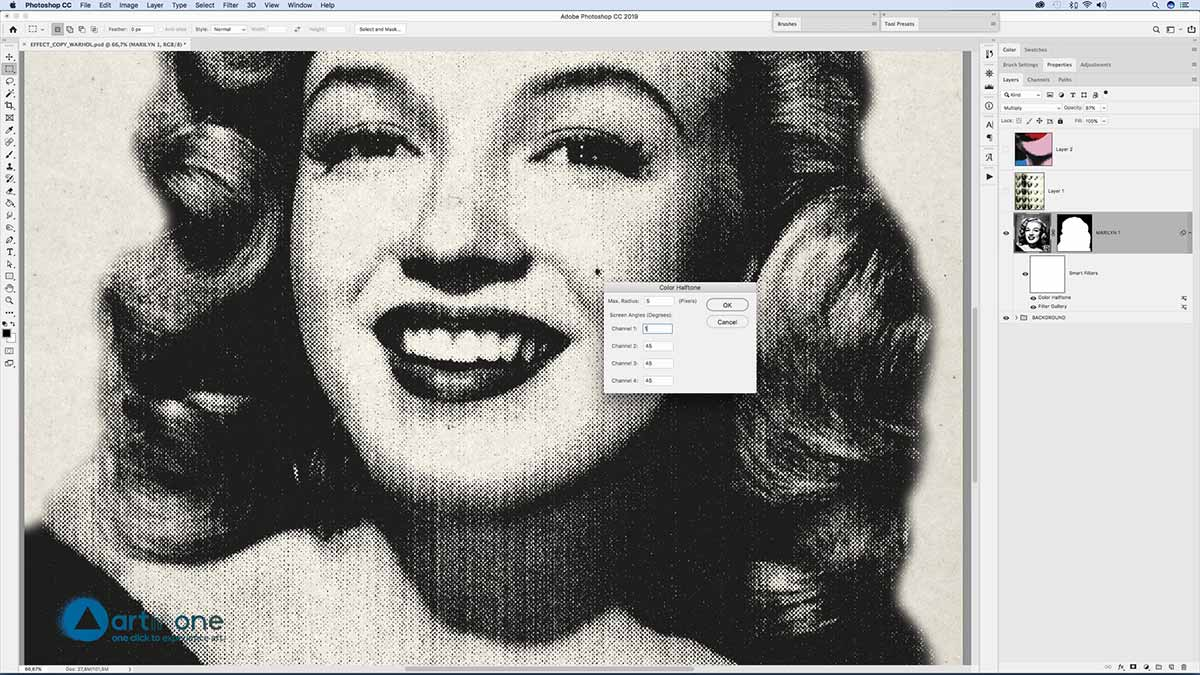 Applying Filter to Screen Printing Andy Warhol effect in Photoshop