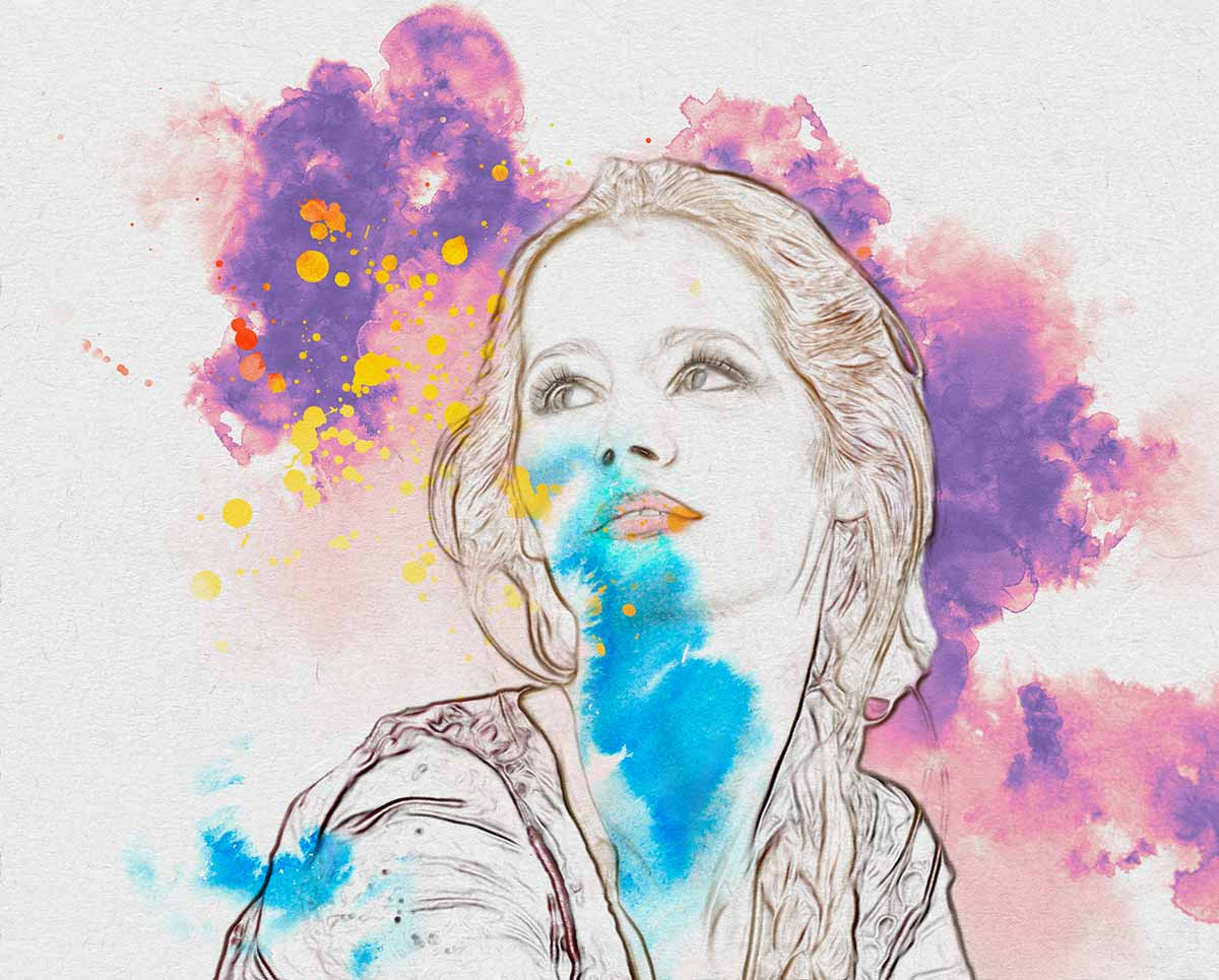 Convert Picture to Drawing with Watercolor and Ink Splatter Background in Photoshop
