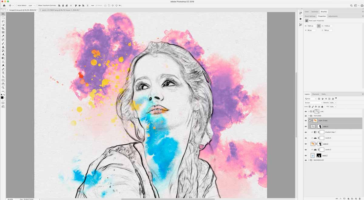 Adding ink splatter in the converted image to drawing
