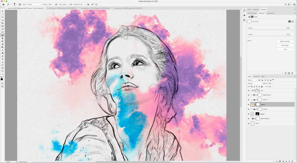 Adding color to the watercolor stain in the converted image