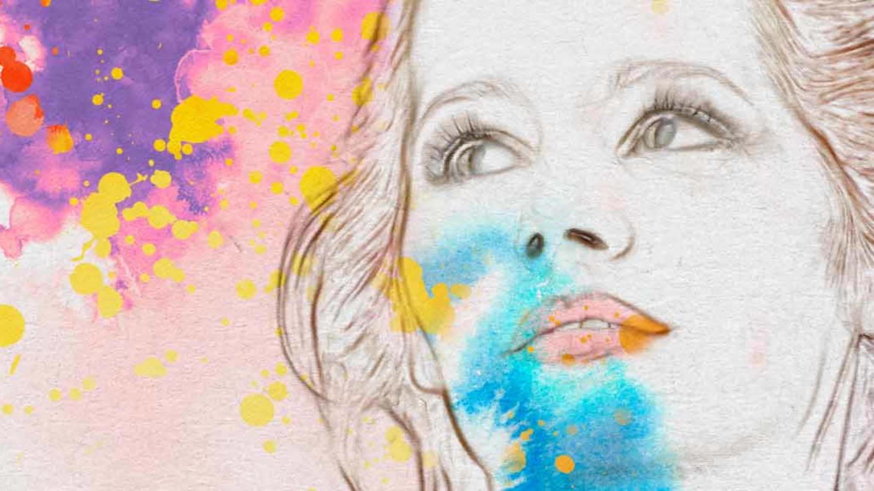 Converting Picture to Drawing with Watercolor and Ink Splatter Background in Photoshop