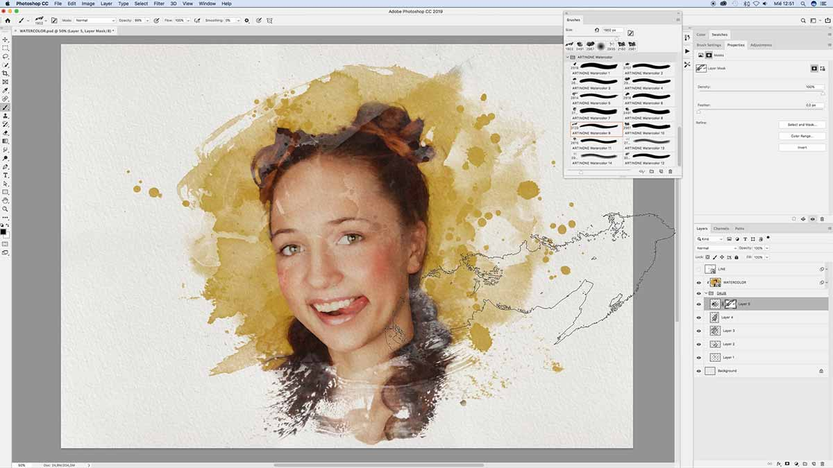 Adding watercolor stain to drawing