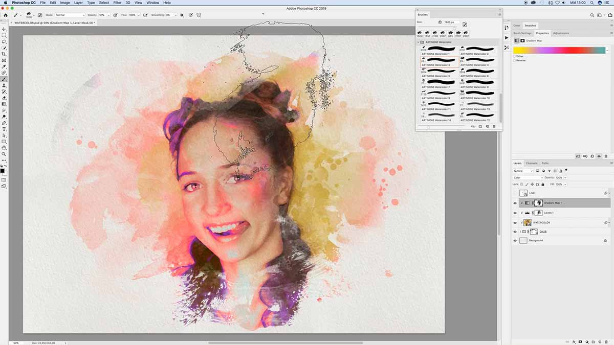 Applying color to watercolor stain