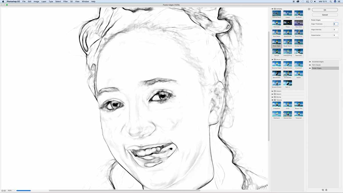 Applying Filters to convert picture to drawing watercolor